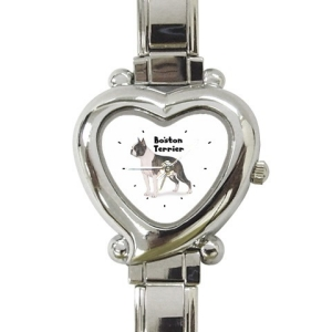 Black Boston Terrier Heart Italian Charm Watch