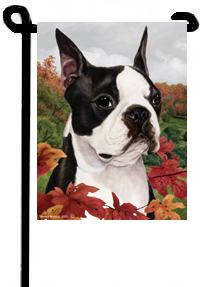 Boston Terrier Summer Flowers Flag
