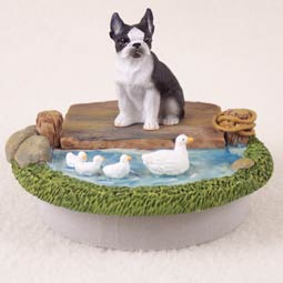 Boston Terrier Tiny One  A Day on The Lake Candle Topper