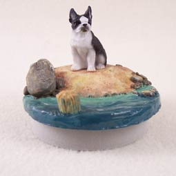 Boston Terrier Tiny One  A Day on the Beach Candle Topper