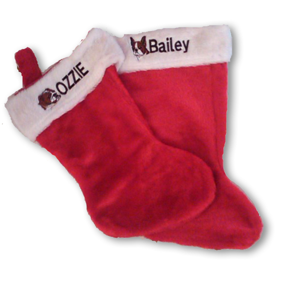 Personalized Red Dog Stocking