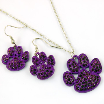 Purple Paw Print Necklace and Earring Set