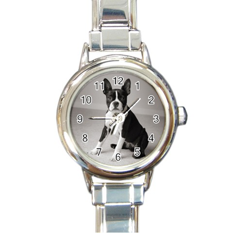 Womans Boston Terrier Gray Round Italian Charm Watch