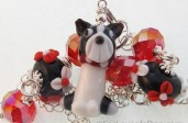 Boston Terrier  Red Lampwork  Necklace
