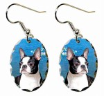 Boston Terrier Blue Water White Flowers Earrings