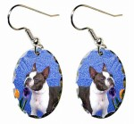 Boston Terrier In Blue with Tulips Earrings