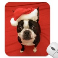 Boston Terrier Santa Claus Mousepad