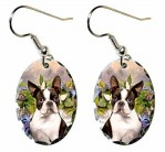 Boston Terrier Sitting in Flowers Earrings