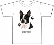 Boston Terrier T Shirt with Pawprints