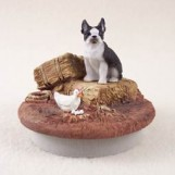 Boston Terrier Tiny One A Day on the Farm Candle Topper