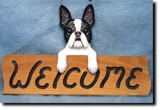 Boston Terrier Wooden Welcome Sign