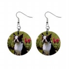 Boston Terrier in Garden Earrings