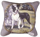 Boston Terrier in Yard Tapestry Pillow