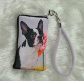 Boston Terrier with Pink Flower Cellphone Bag