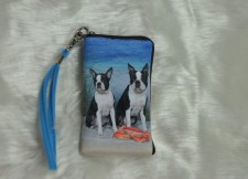 Boston Terriers at the Beach Cellphone Bag