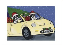 Crusing Boston Terrier in Bug Christmas Cards