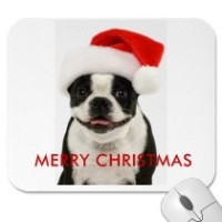 merry christmas boston santa mousepad